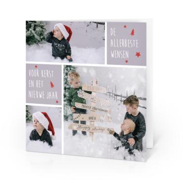 Kerstkaart met eigen foto - gevouwen kaart