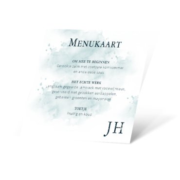 Menukaart watercolor blue