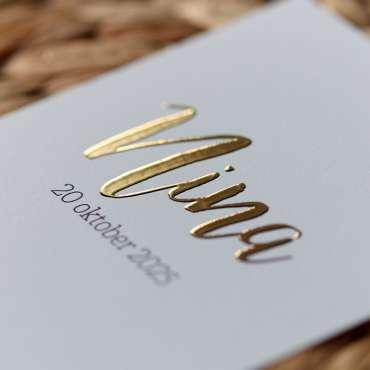 Geboortekaartje met stipjes 3D goudfolie