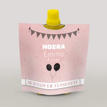 Wikkel voor knijpfruit roze met ballonnen